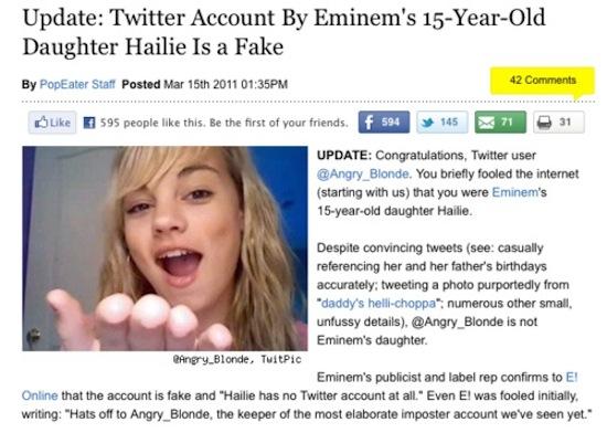 Hailie Mathers Twitter | Fake Hailie Mathers | Aol Popeater | Mediaite