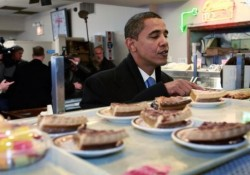 President-Elect Barack Obama Picks Up Lunch At Chicago Deli