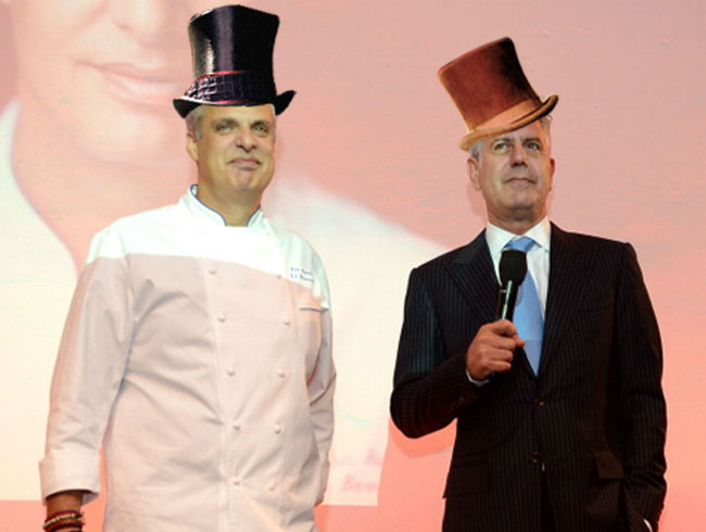 Eric Ripert and Anthony Bourdain as The Wonkas