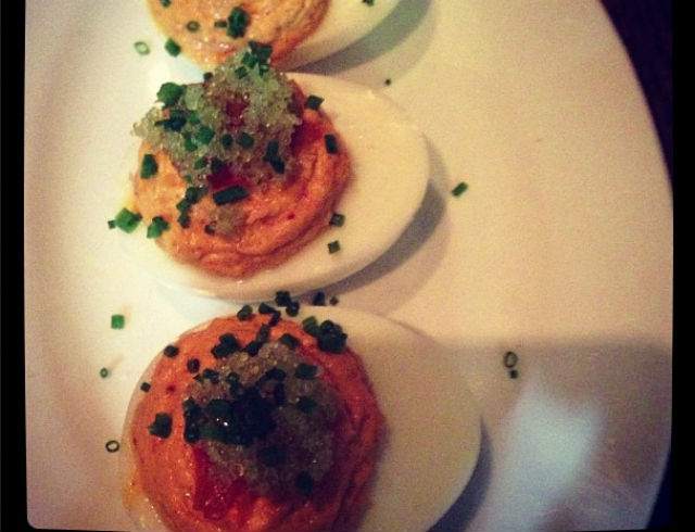 Deviled Eggs With Tobiko