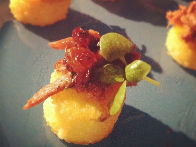 Grilled Polenta with Duck Confit and Tart Cherry Salsa