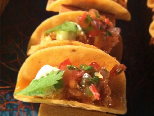 Tiny BBQ Chicken Tacos with Pico de Gallo and Poblano Crema