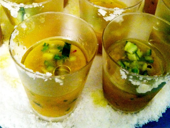 Yellow Tomato Gaspacho Shooters