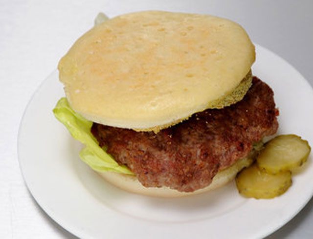 CJ and Tyler's Crumpet Burger with Spicy Pickles