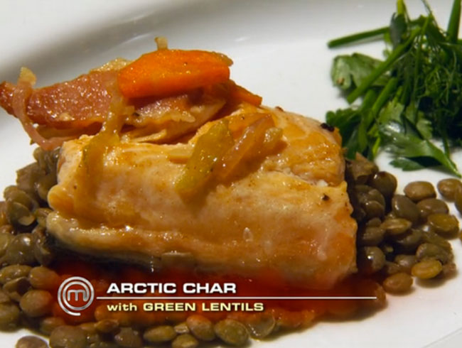 Tali's Dijon-Rubbed Arctic Char, Bacon and Lentils