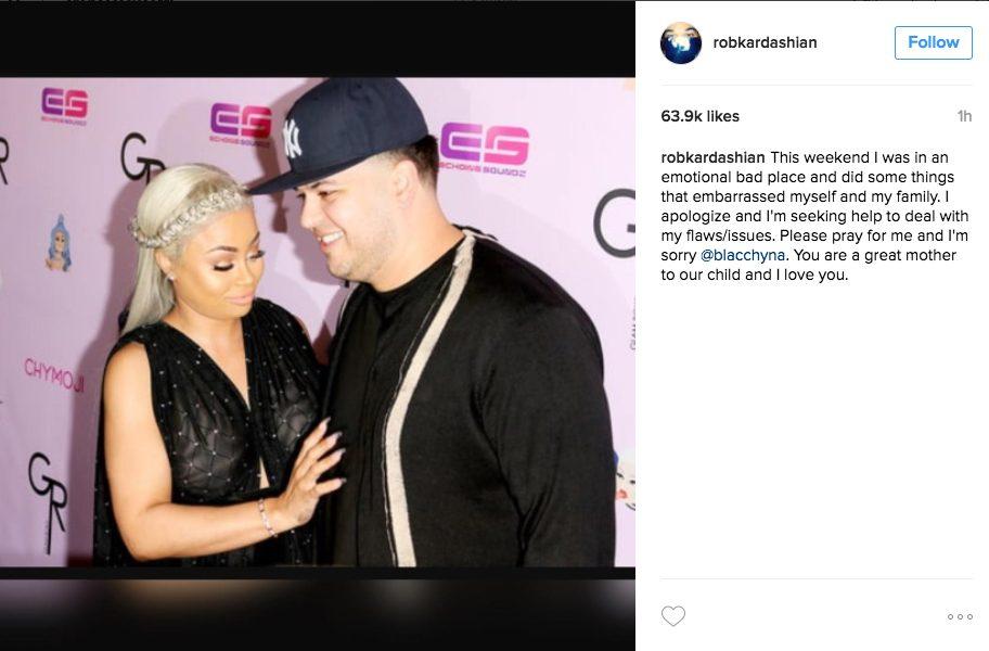 rob kardashian apologizes to blac chyna and dream, promises to