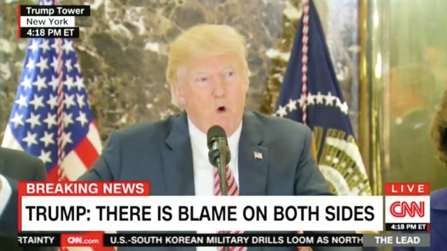 Thumbnail for Trump Defends Initial Charlottesville Remarks: 'I Think There's Blame on Both Sides'