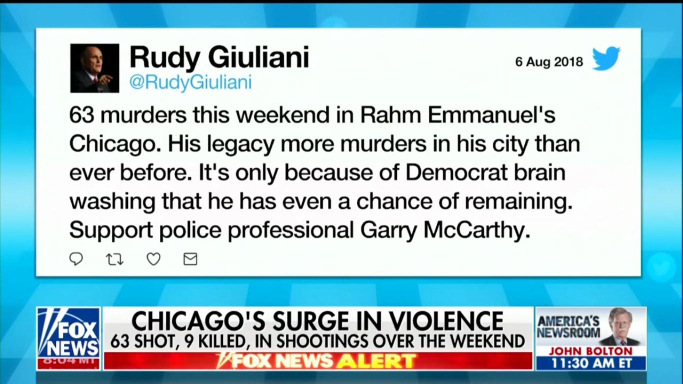 Fox Presents Giuliani's False Chicago Crime Stats as Real