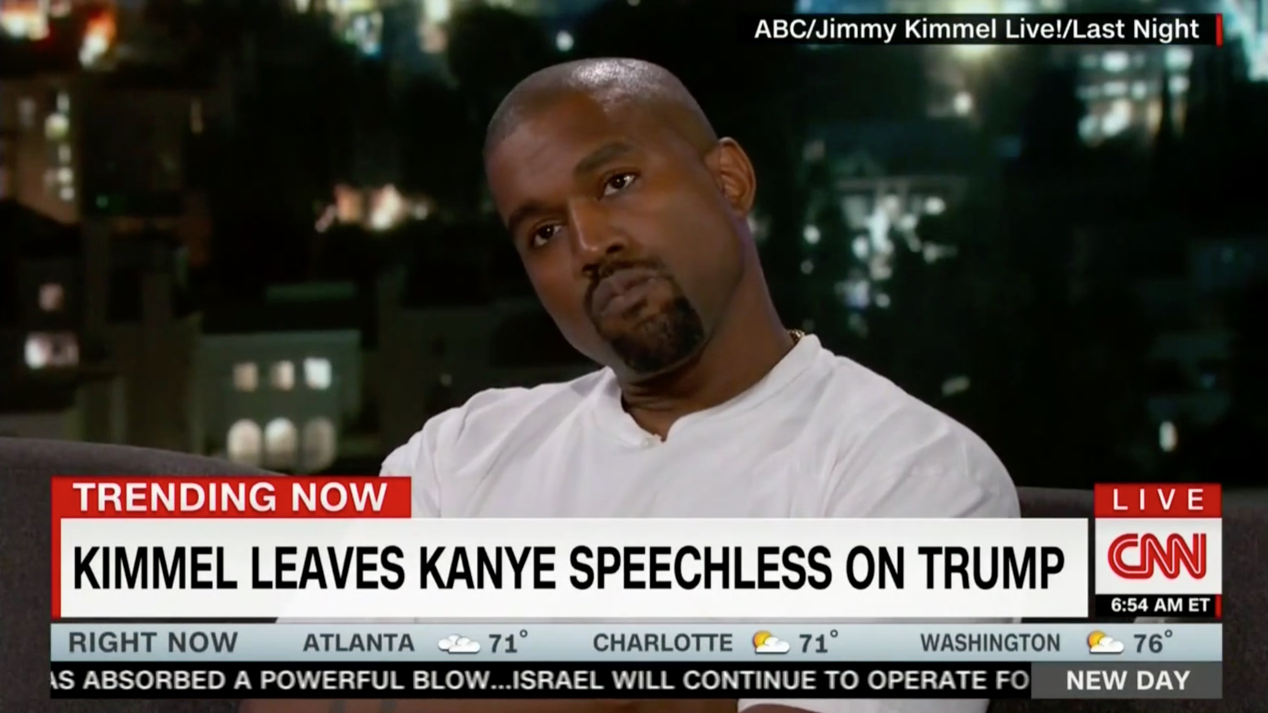 Kimmel Leaves Kanye West Speechless By Asking if Trump Cares About Black People