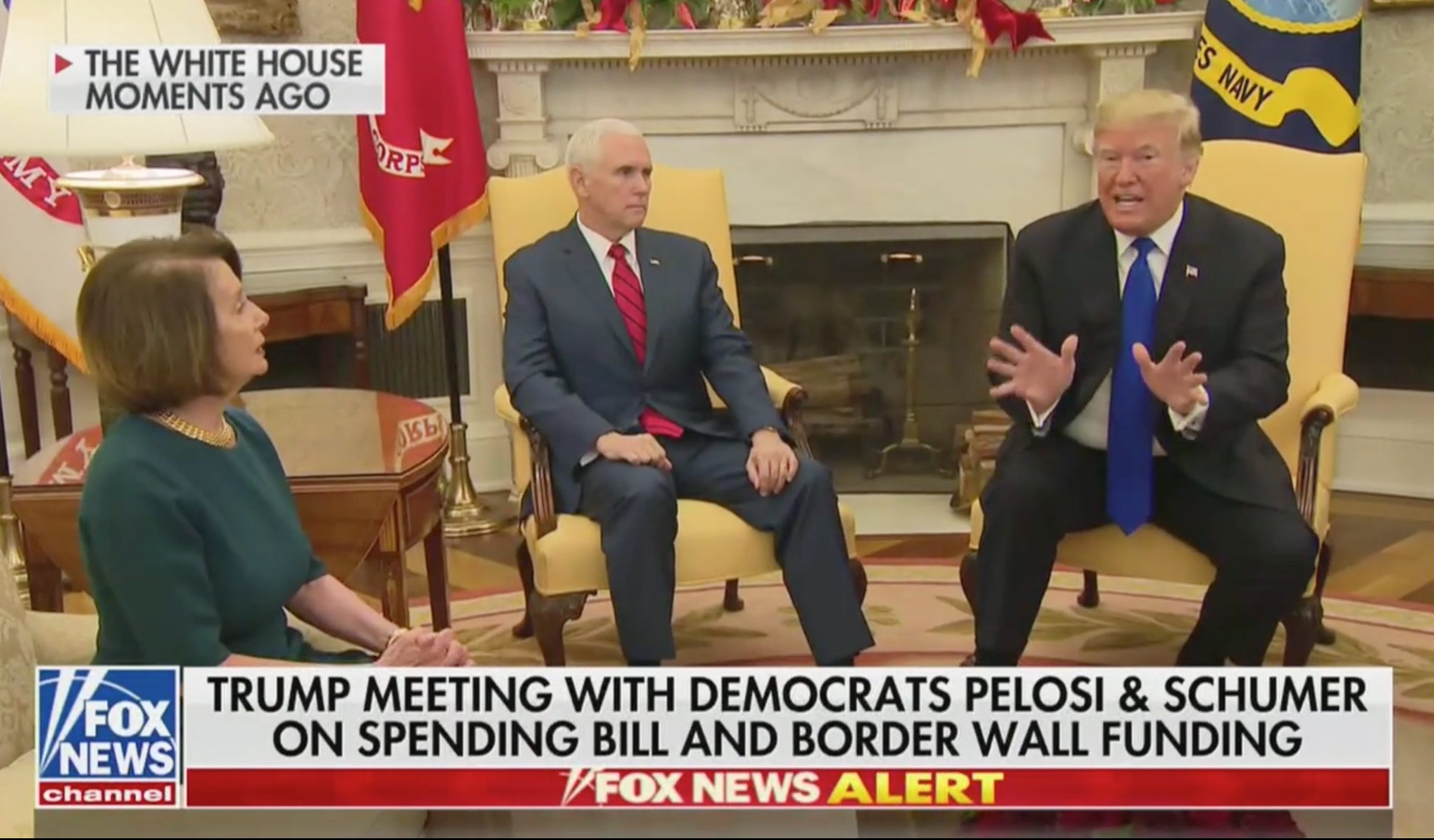 Trump Pelosi And Schumer Have Explosive Televised Shouting