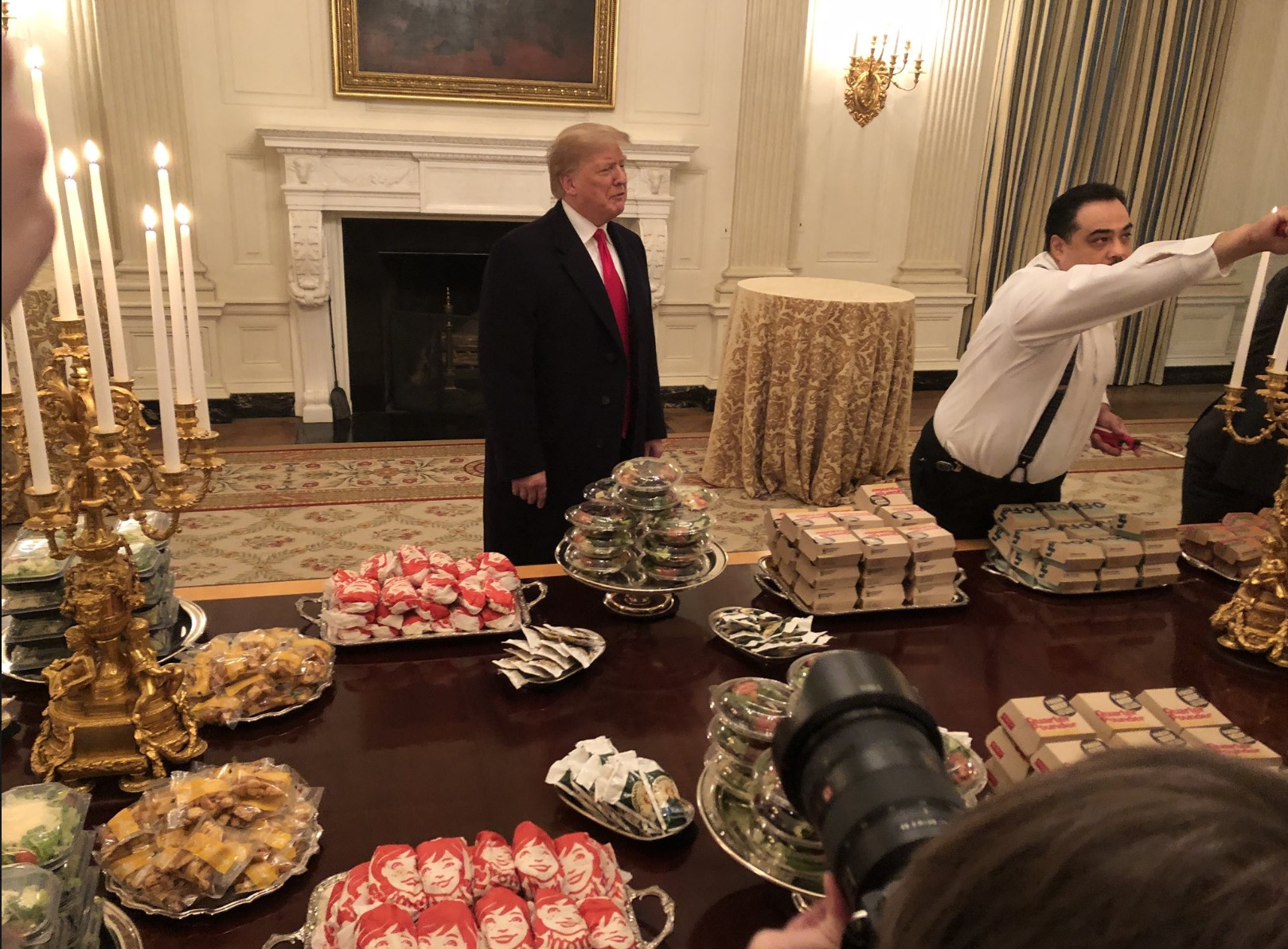 Trump Greets Clemson Players at White House With 'Great American' Fast Food Spread
