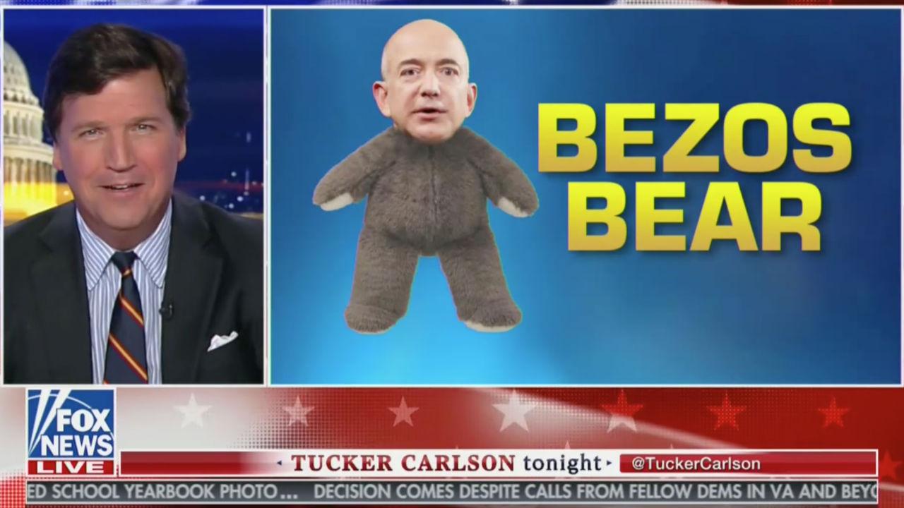 Tucker Carlson Mocks Media Coverage of Jeff Bezos: 'He's a Powerful Masculine Bear!'