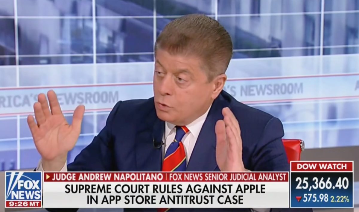 Plot Twist! Fox's Napolitano Shocked By Justice Kavanaugh Siding With SCOTUS Liberals in Key Apple Case