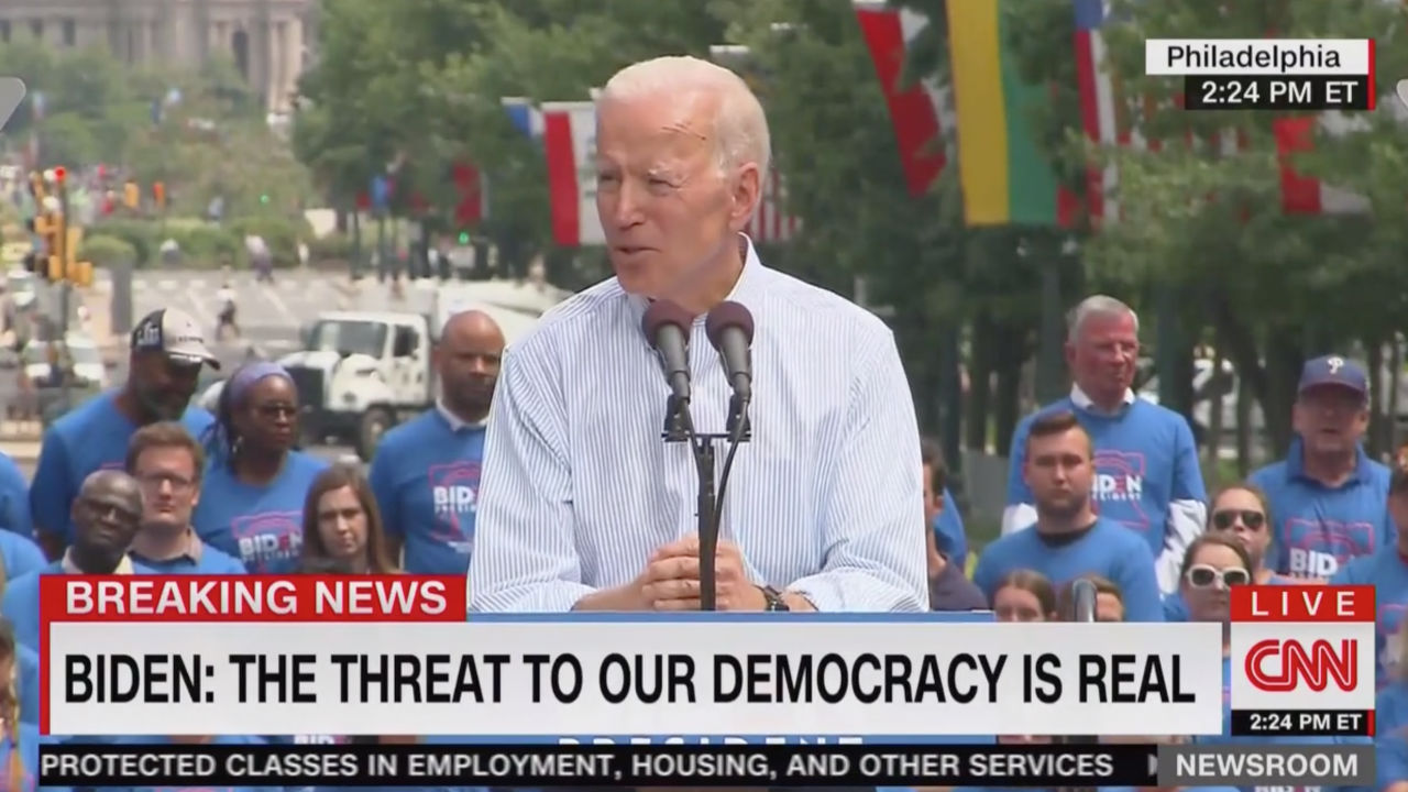 Biden Rips Trump at Campaign Rally: 'The Threat to This Nation, to Our Democracy, Is Real'