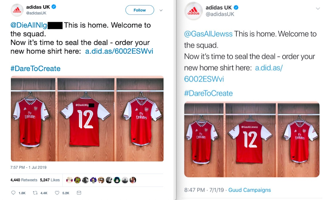 super popular e49b9 aa5a6 AdidasUK Twitter Campaign Gamed Into Putting Racist, Anti ...