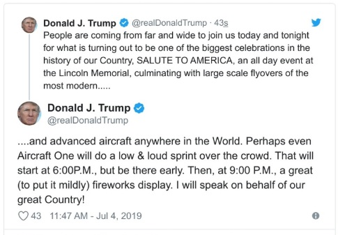 Trump Literally Becomes Parody of Himself By Suggesting Putin's Jet Fly Over His July 4th Speech