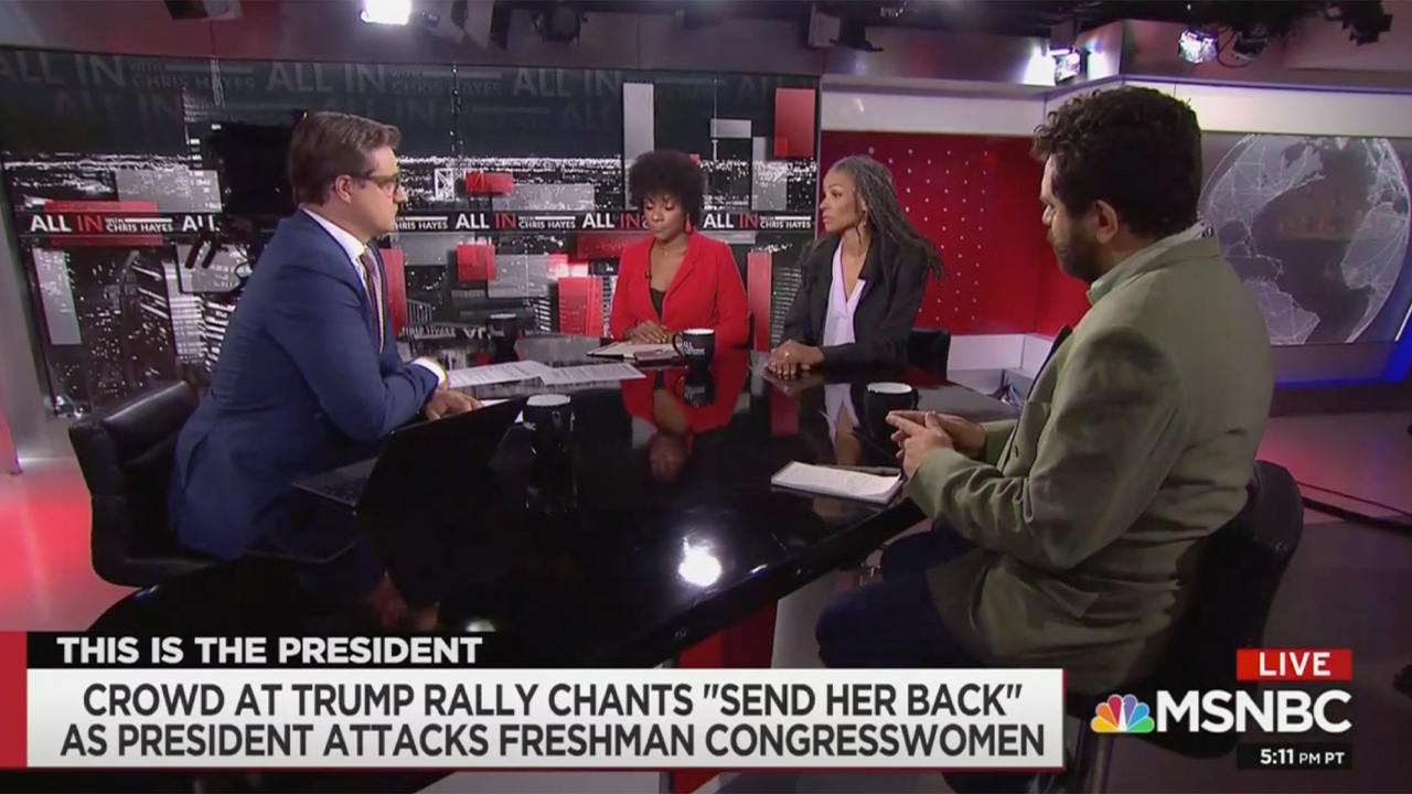 MSNBC Panel Trashes 'Send Her Back' Trump Rally Chants: 'More Than Sad… It's Dangerous'