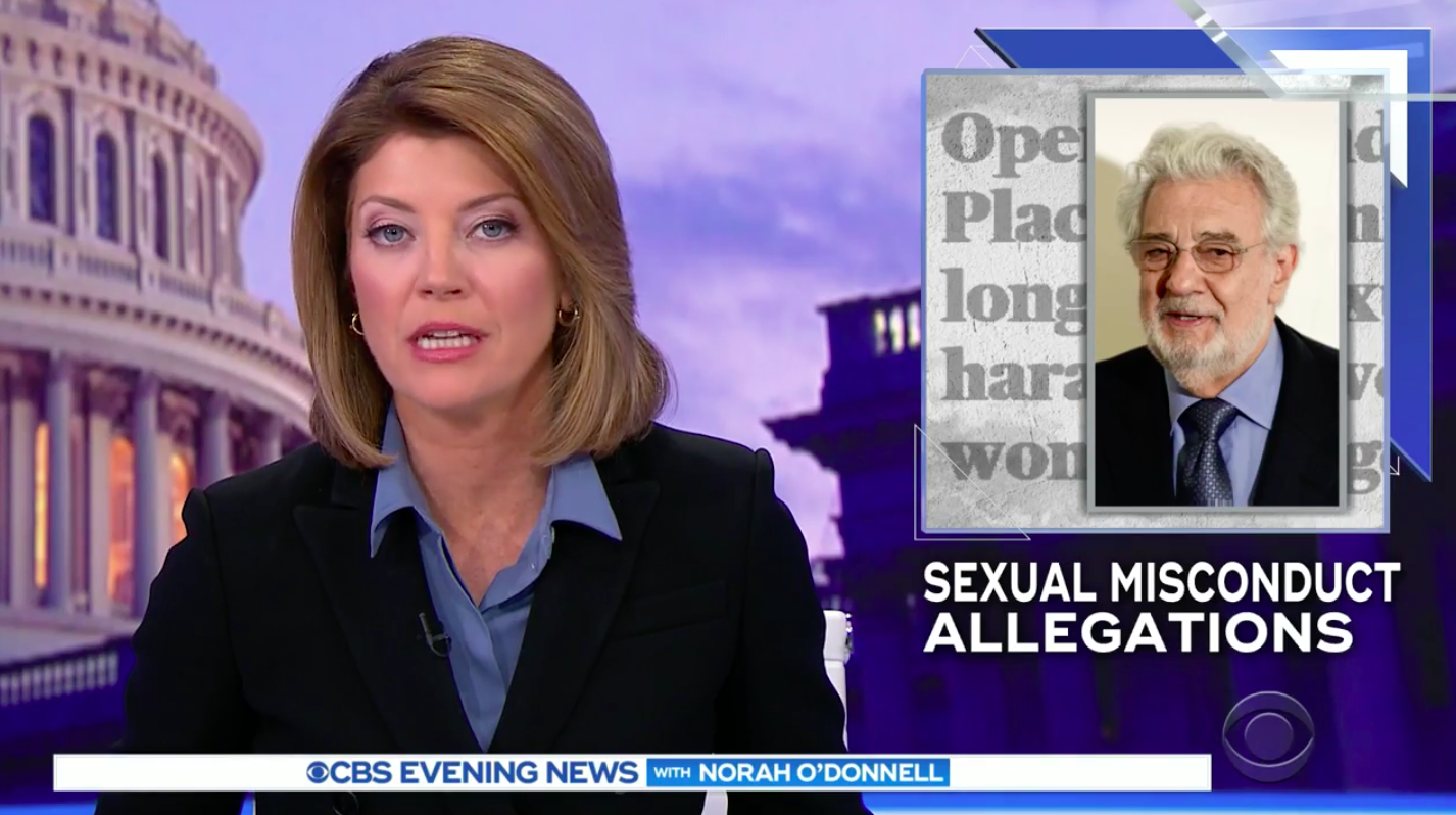 CBS Anchor Norah O'Donnell Caught on Hot Mic: Placido Domingo's Misconduct Denial 'Sounds Like Somebody Else'