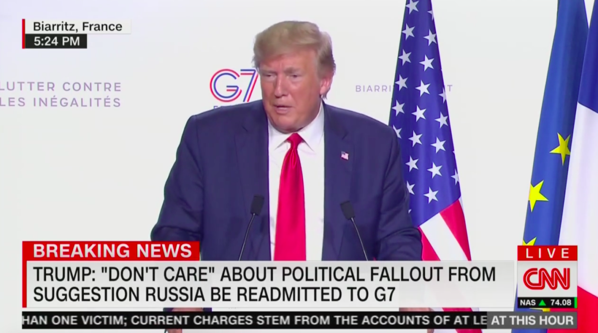 Trump Bashes Obama After Reporter Confronts Him on 'Clear Lie' About Russia's Removal From G7