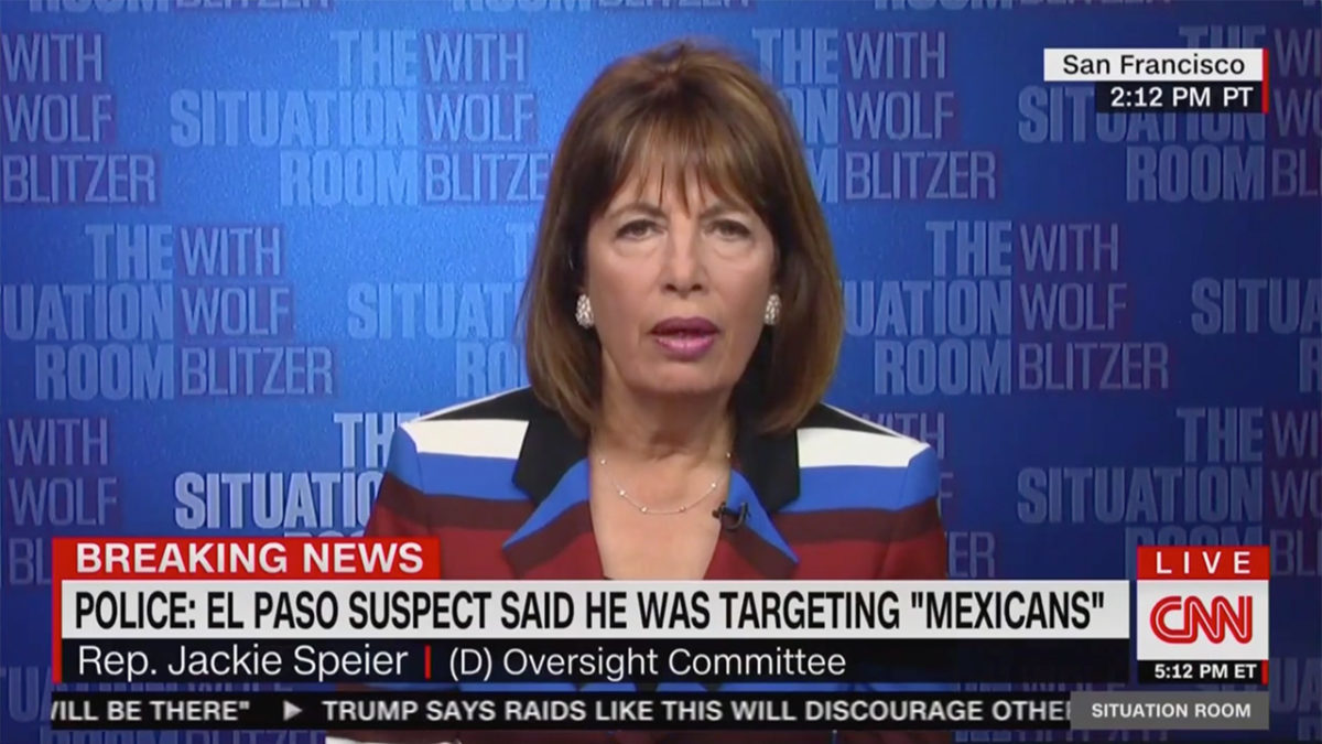 Dem Rep. Speier Says She's Disturbed by Photo of Trump With Orphaned Baby in El Paso: 'He's a Malignant Narcissist'