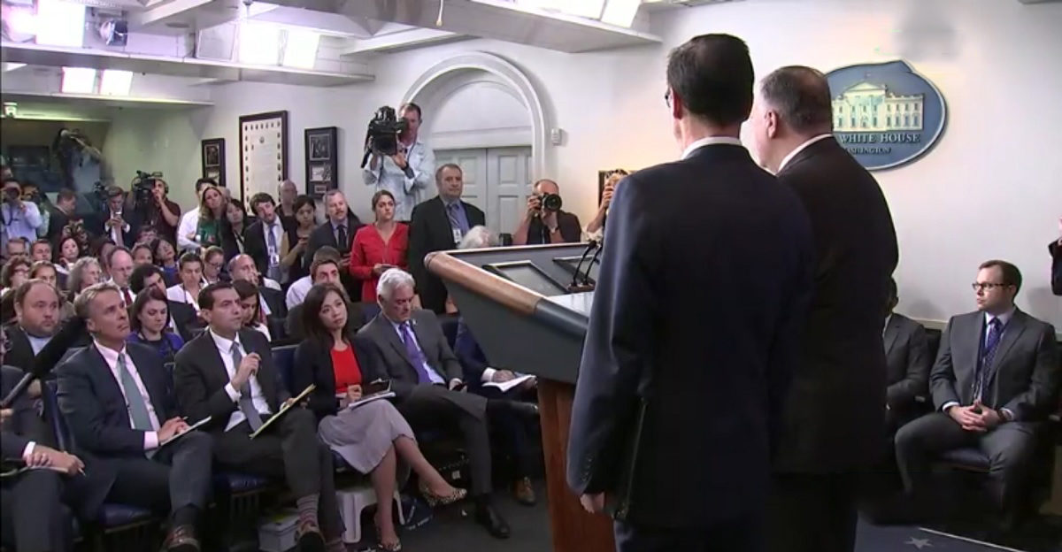 White House Reporter Caught On Hot Mic After Pompeo-Mnuchin Presser: 'God Almighty, That Was a Sh*tshow!'