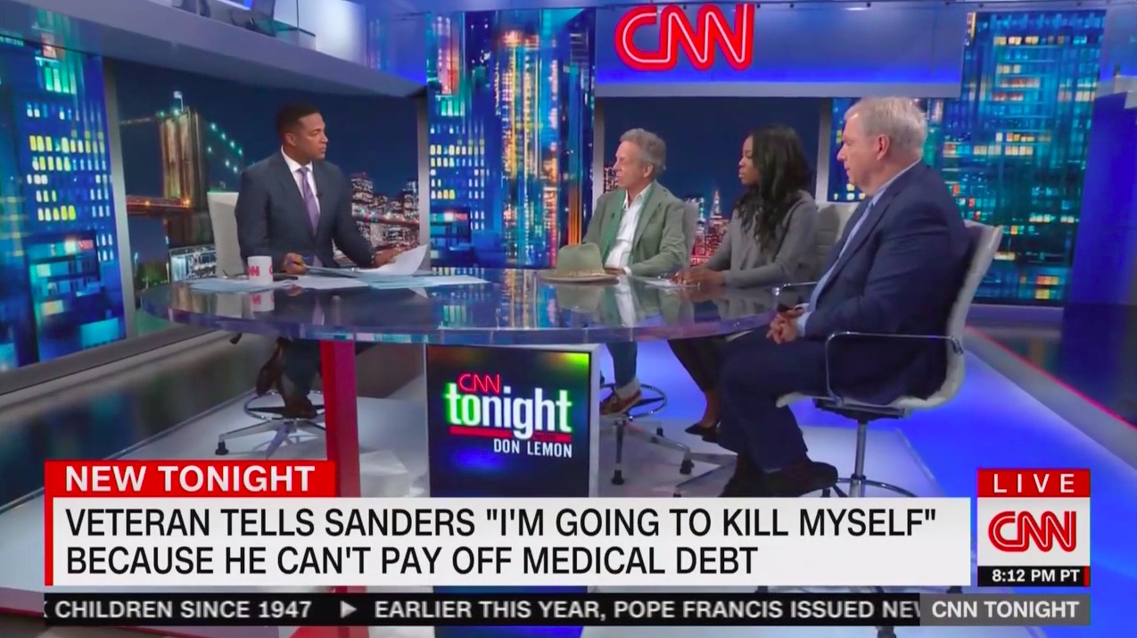 CNN's Mark McKinnon Praises Bernie Sanders' 'Humanity' For Empathic Response to Veteran Who Threatened Suicide at Town Hall
