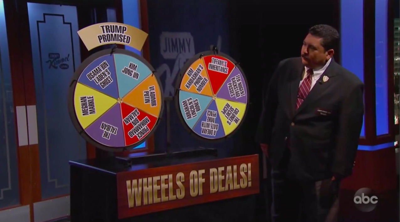 Jimmy Kimmel's 'Wheels of Deals' Predict Trump's Alleged 'Promise' to Foreign Leader: Kim Jong-Un…Gets Tiffany's Inheritance!