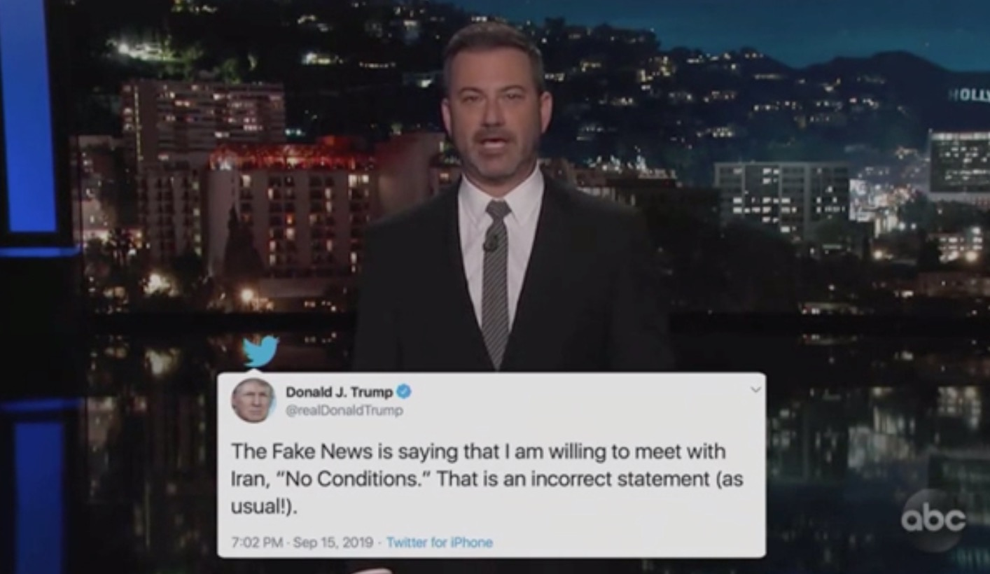 Jimmy Kimmel Shows How Trump's 'Fake News' Claim of 'No Pre-Conditions' Started With … Trump