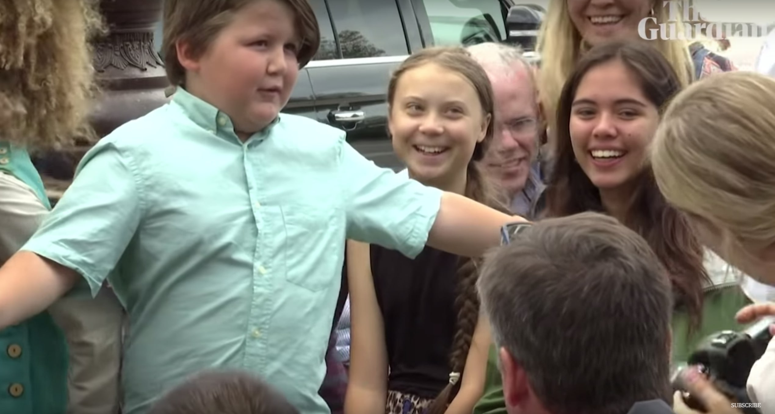 People Can't Get Enough of This Video of a Boy Shielding Activist Greta Thunberg from Capitol Hill Cameras