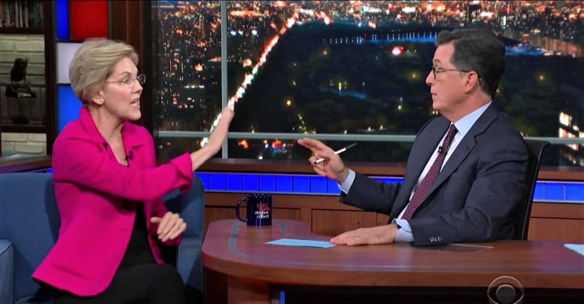 Stephen Colbert Calls Out Elizabeth Warren for Refusing to Say Whether She'll Raise Middle Class Taxes