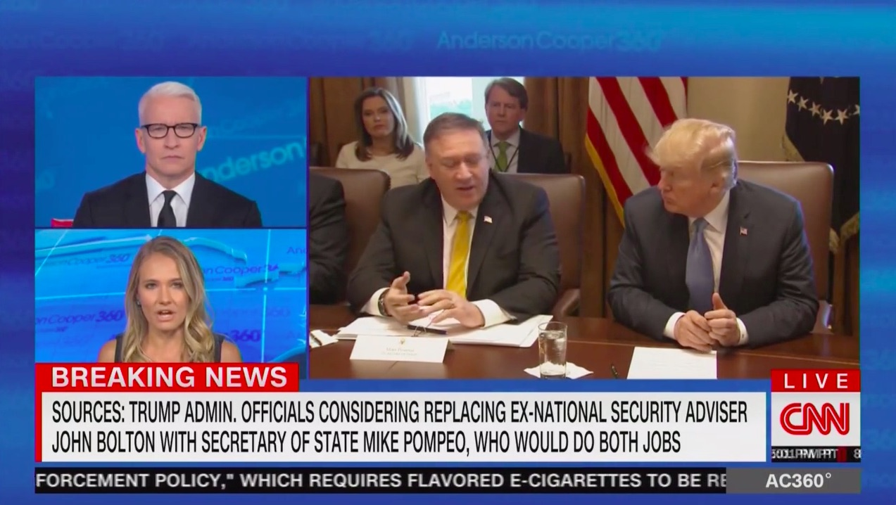 WH Reportedly Exploring Giving Sec of State Pompeo Second Job as Trump's New NSA to Replace Bolton