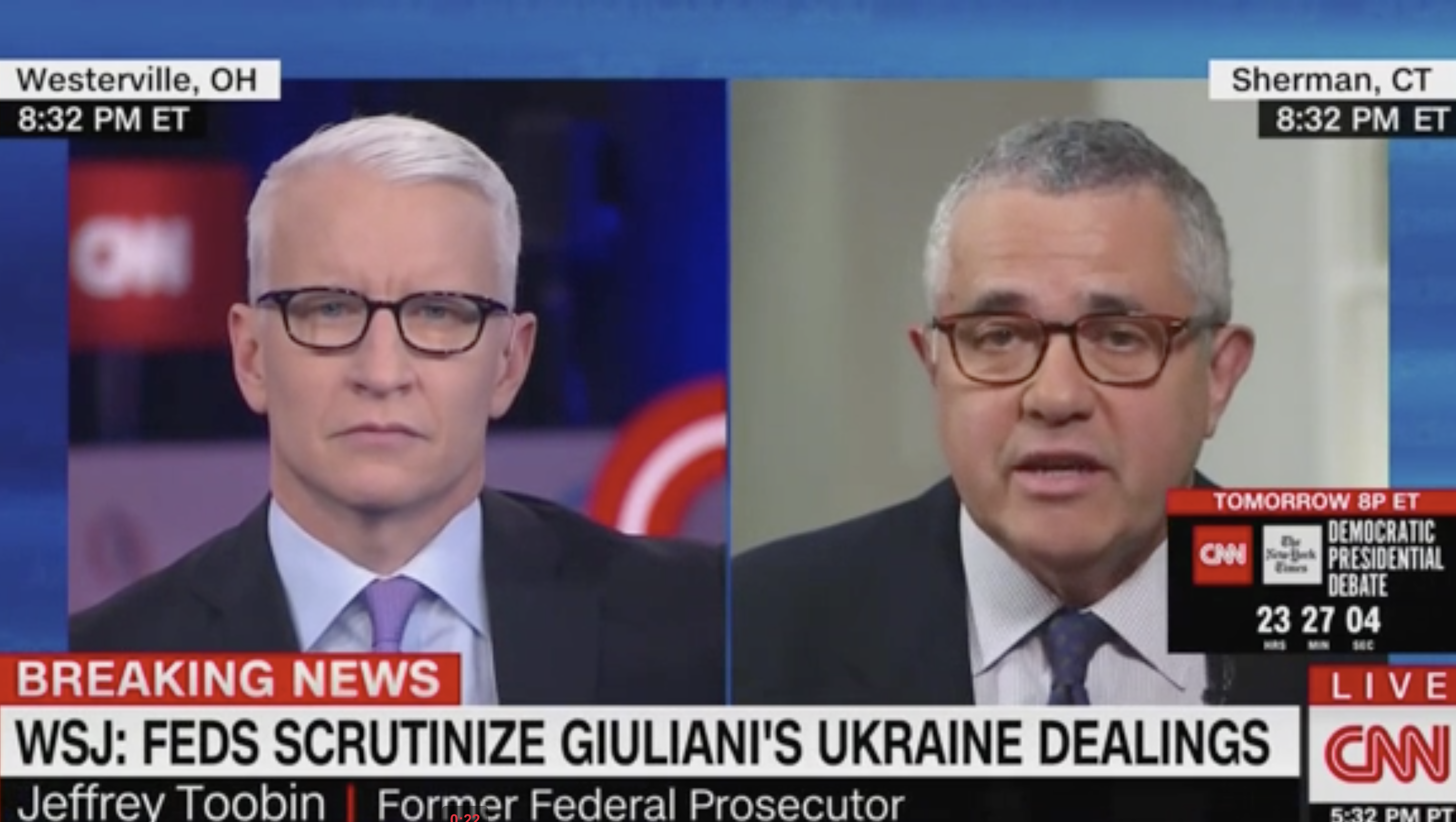 CNN's Jeffrey Toobin: Giuliani 'Hasn't Been Charged' With a Crime and 'May Never Be'
