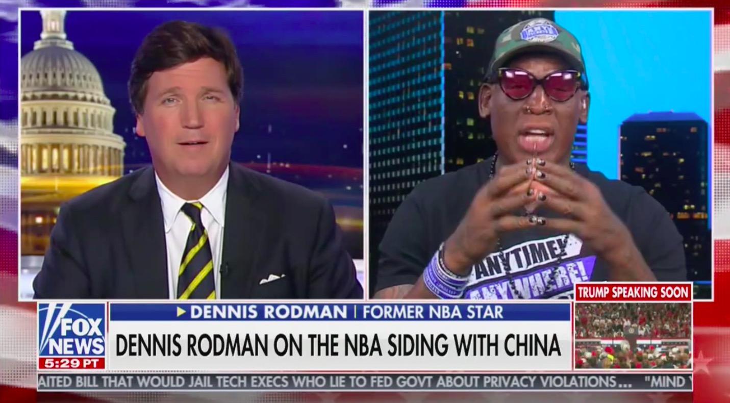 Dennis Rodman Dodges Tucker Carlson's Attempts to Have Him Bash LeBron: 'Let Basketball Players' Avoid Politics