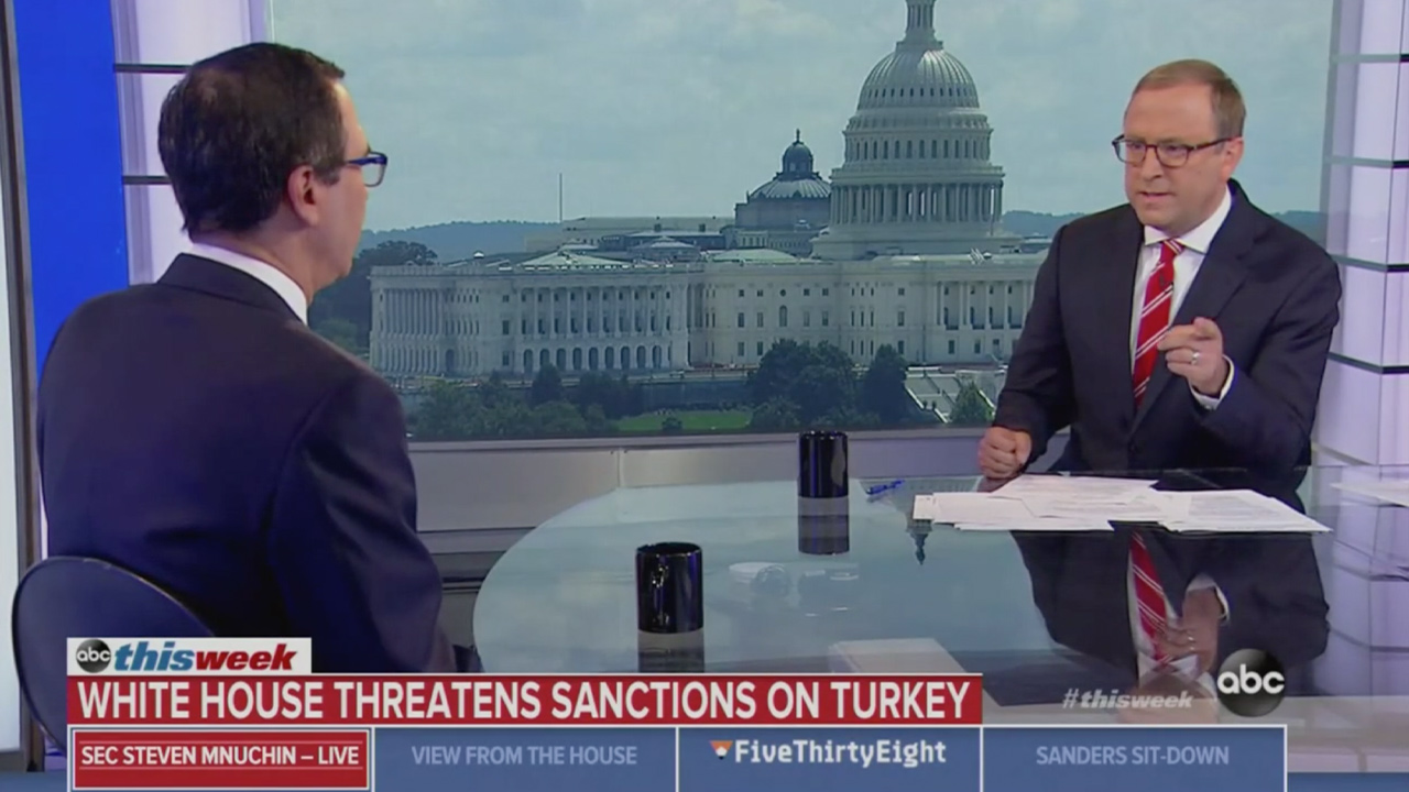 ABC's Jon Karl Questions Mnuchin on Trump Saying the Kurds 'Didn't Help Us With Normandy': 'What Is He Talking About?'