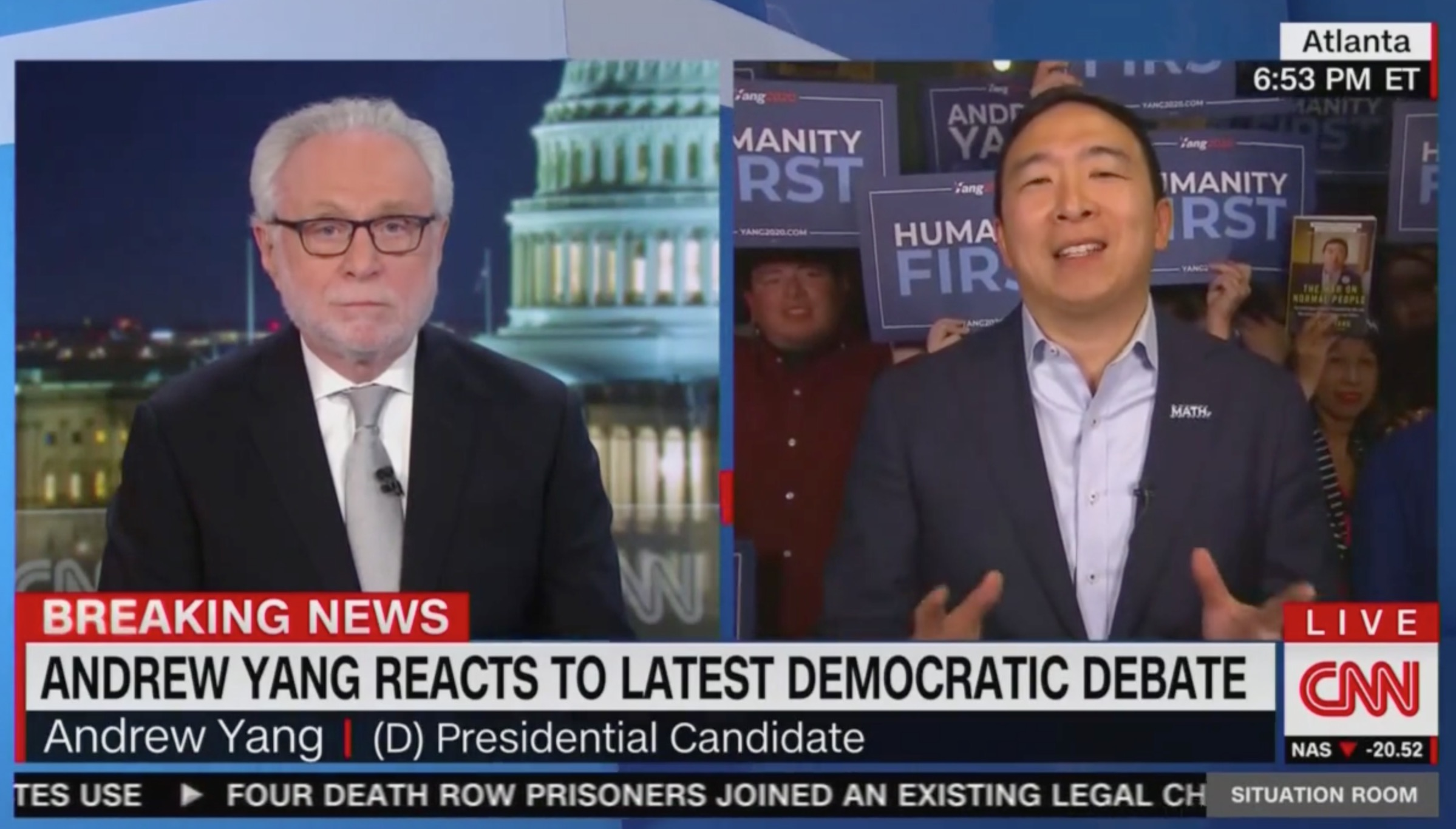 Andrew Yang Blasts MSNBC to Wolf Blitzer: 'All I'll Say is I Miss CNN Moderating the Debates!'