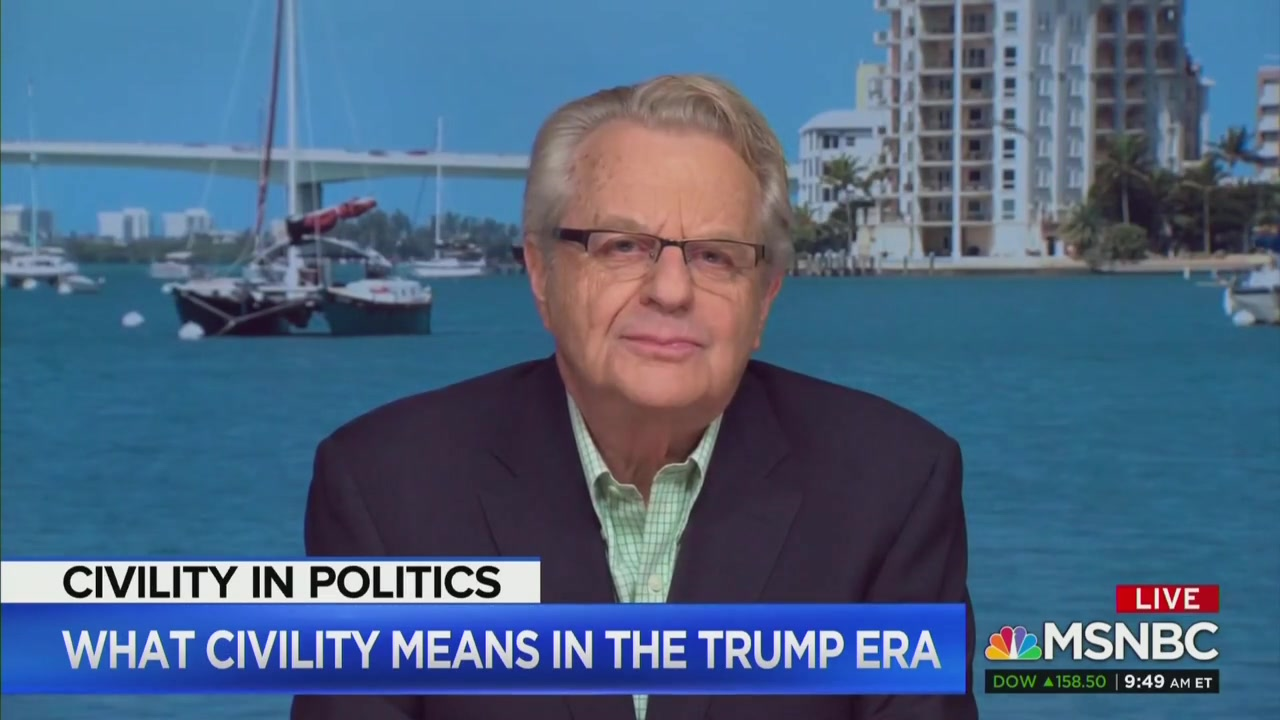 Yes, Jerry Springer Really Decried Lack of Civility in America, Gets Immediately Called Out by Stephanie Ruhle