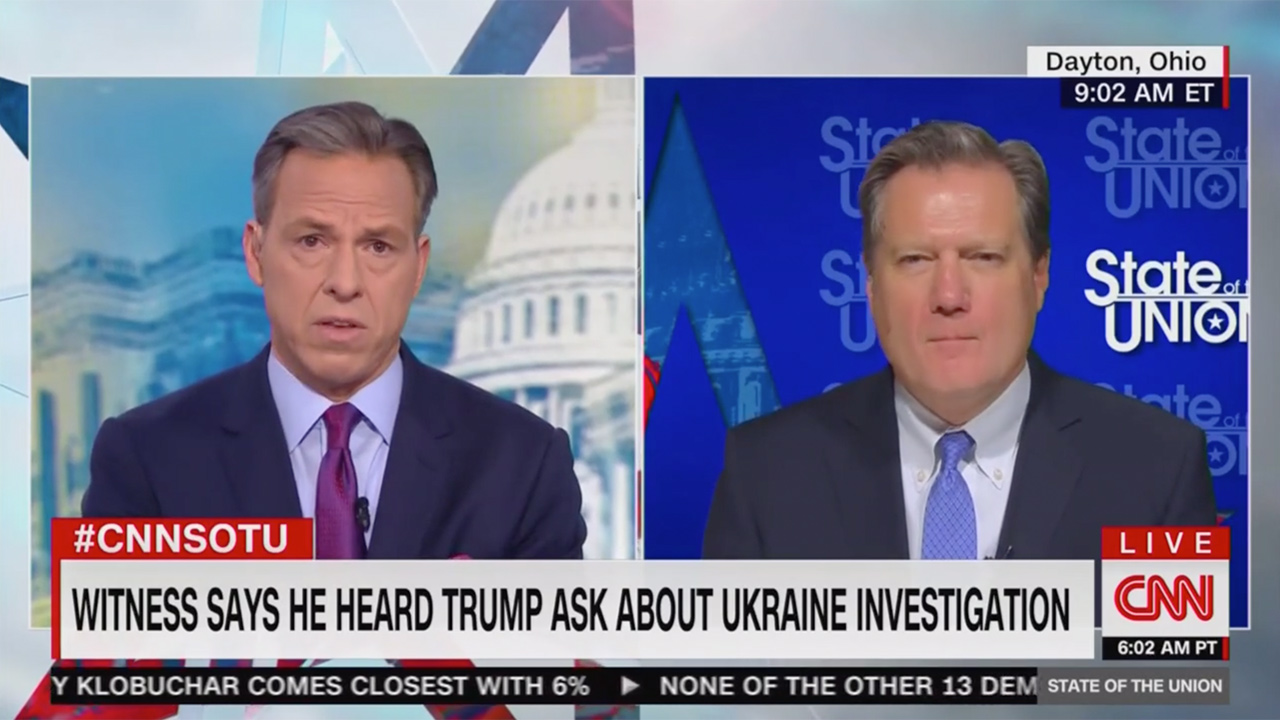 Jake Tapper Confronts GOP Rep. on New Ukraine Testimony: 'Does That Not Alarm You?'