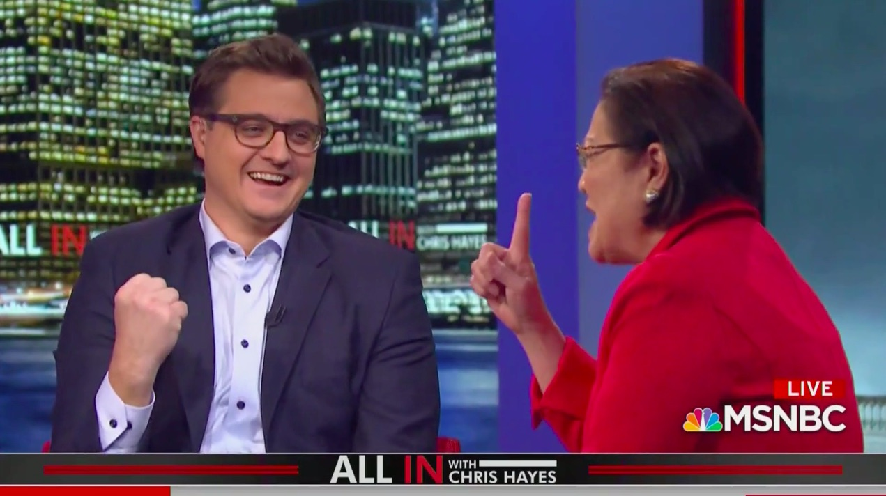 Watch Chris Hayes, Mazie Hirono Mock-Cheer Single House Republican Who Backed Renewal of the Voting Rights Act: 'We got ONE!'