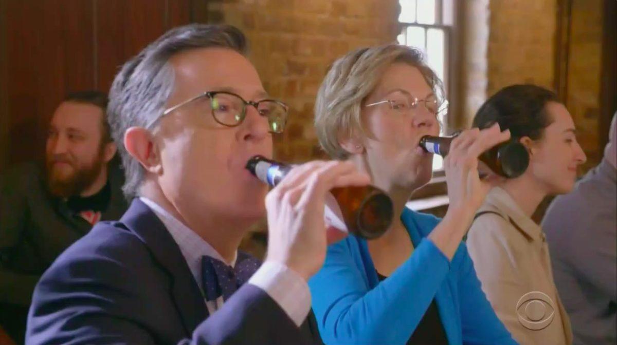 Stephen Colbert, Elizabeth Warren Mock Billionaires in SC Bar
