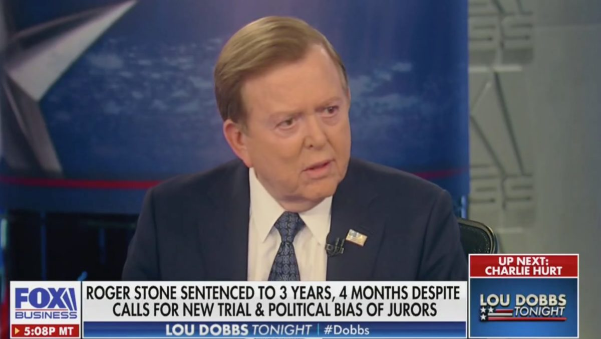 Lou Dobbs Unleashes Tirade Against Roger Stone's Prosecutors: They Think They're 'Serving in the Soviet Union'