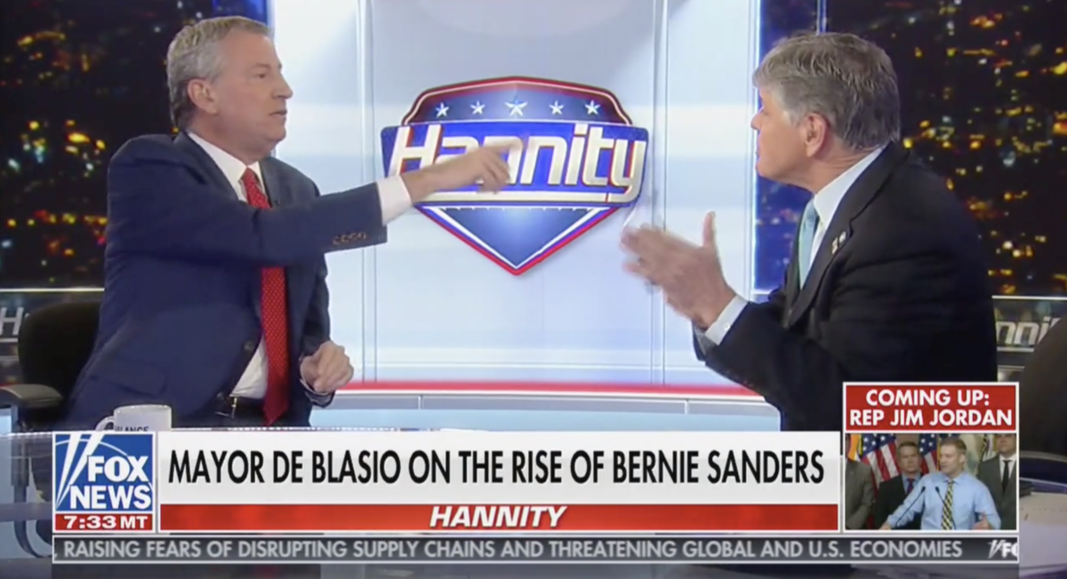 'You Want to Legalize Stealing': Sean Hannity and Bill de Blasio Battle in Wild Debate Over Bernie Sanders