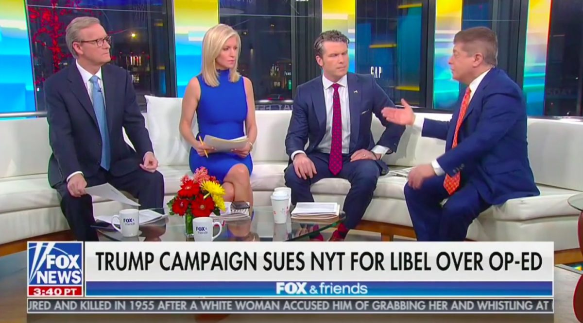 Napolitano Tells Fox & Friends Trump's Lawsuit Against the NY Times WiIl Be Dismissed