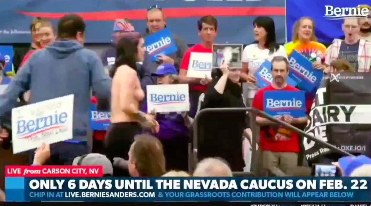 WATCH: Topless Animal Rights Protesters Storm Stage, Disrupt Bernie Sanders' Speech at Nevada Rally