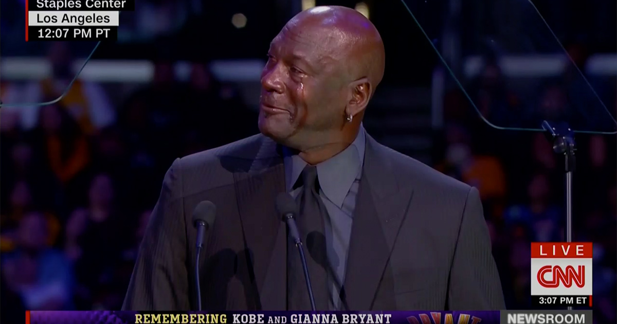 Michael Jordan Pays Tearful Tribute to 'Little Brother' Kobe Bryant, Brings Down the House Joking About 'Crying Jordan' Meme