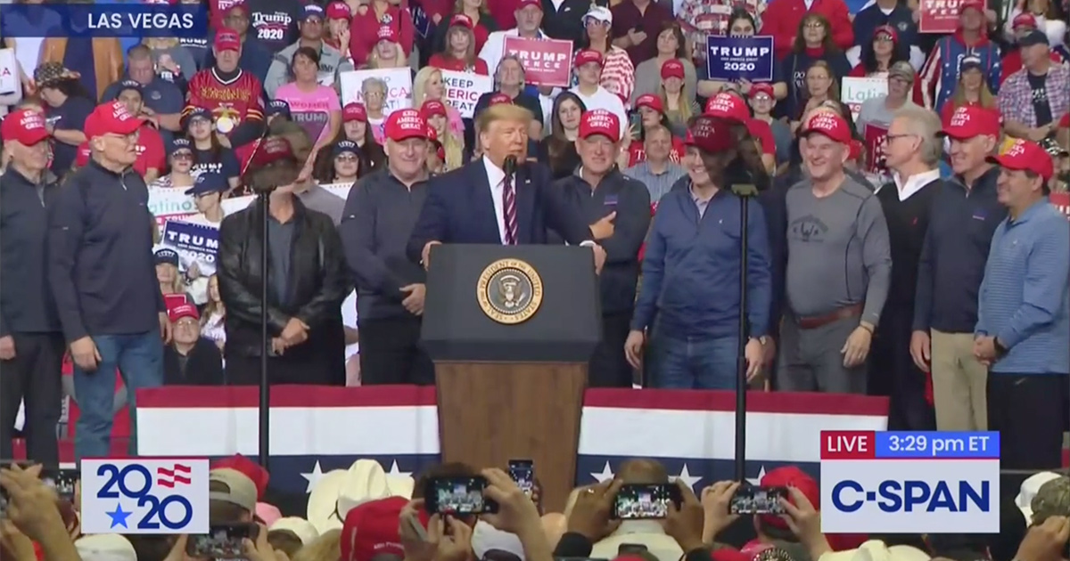 Trump Doubles Down on Attacking Parasite as 1980 US Olympic Hockey Team Joins Him on Stage at Rally