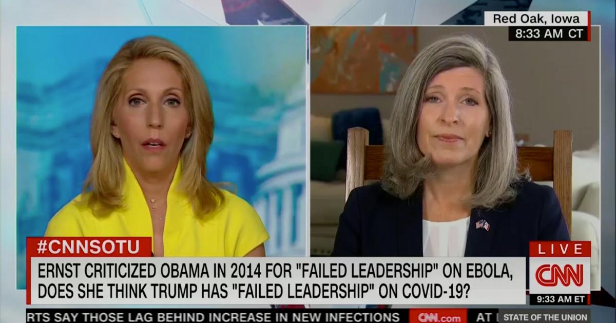 Dana Bash Questions Joni Ernst About Trump Covid Leadership