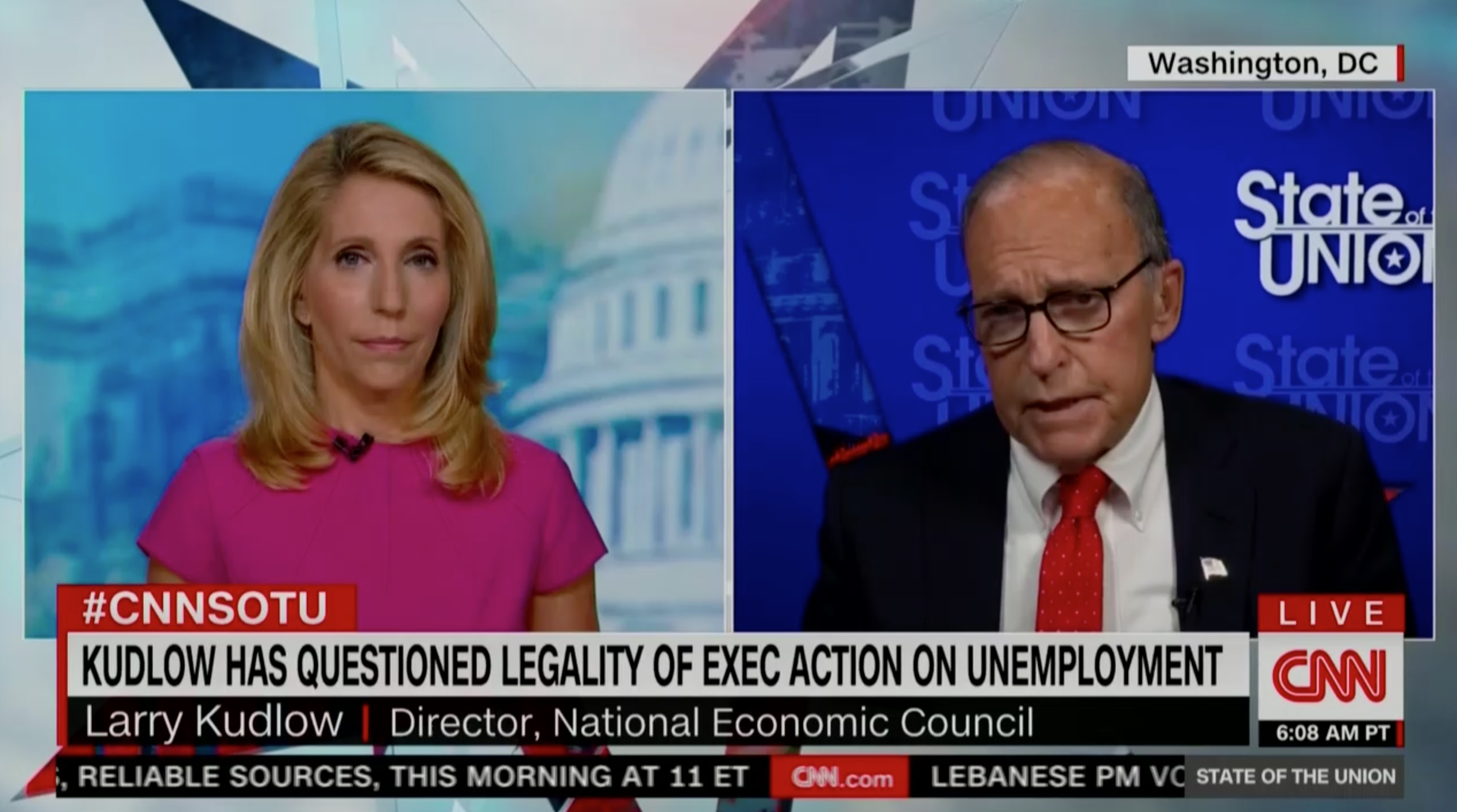 CNN's Dana Bash Grills Kudlow Over Trump Executive Actions: 'So You Don't Know' Which States Can Pay for Jobless Benefits?