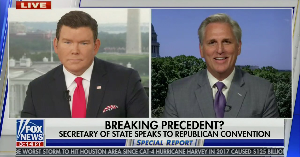 Kevin McCarthy Laughs Off Criticism of Mike Pompeo at RNC