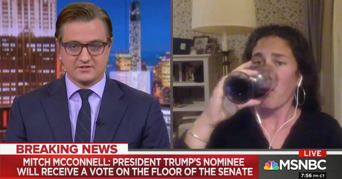 Rebecca Traister Swigs Wine Live During MSNBC Coverage