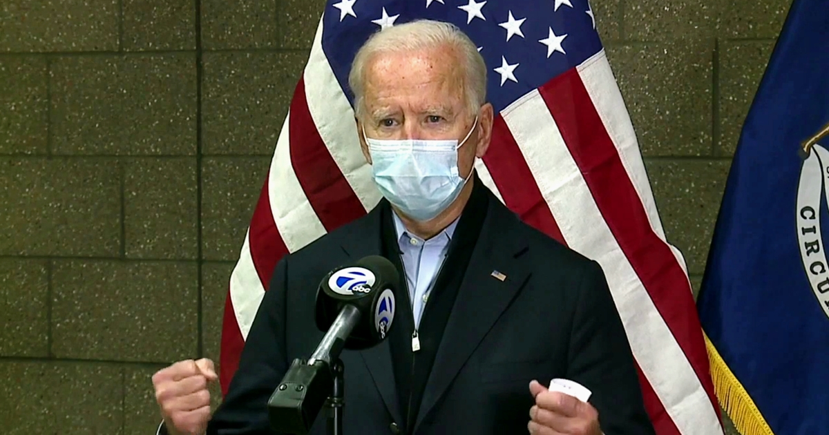 Joe Biden Says He Hopes Trump Covid Infection Wakes Up People Who Think Going Maskless Makes Them 'Free or Whatever'